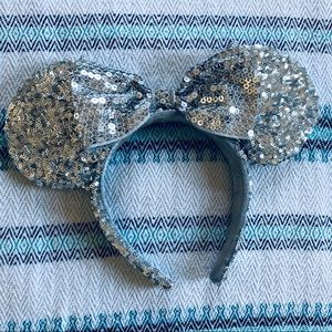 Silver Sequined Mickey Ears
